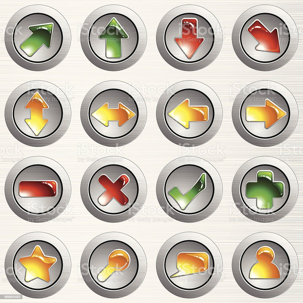 Set of light gray brushed steel buttons royalty-free stock vector art