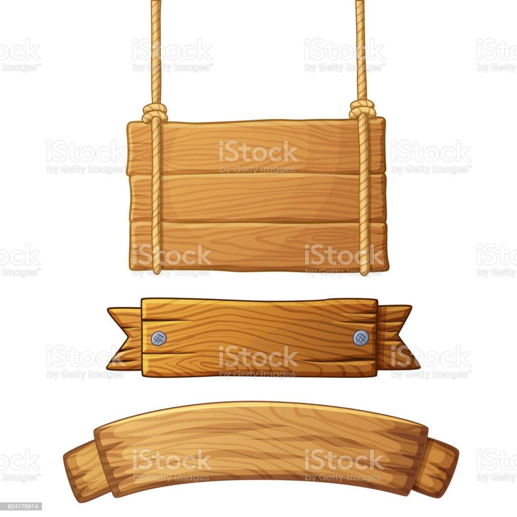 Ensemble de bannières en bois clair - Illustration vectorielle