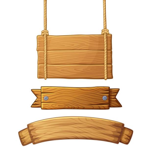 set of light wooden banners - transparent stock illustrations