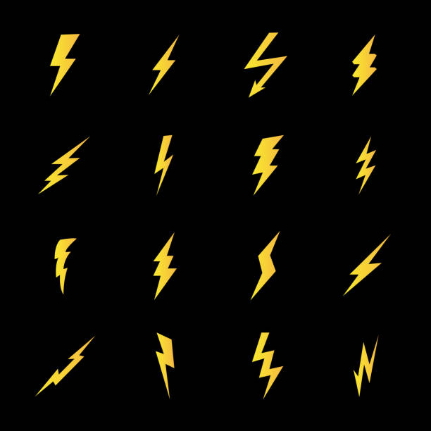 Set of lightning bolt icons in modern flat style Set of lightning bolt icons in modern flat style. High quality black outline thunderbolt symbols for web site design and mobile apps. Simple bolt pictograms on a white background. lightning stock illustrations