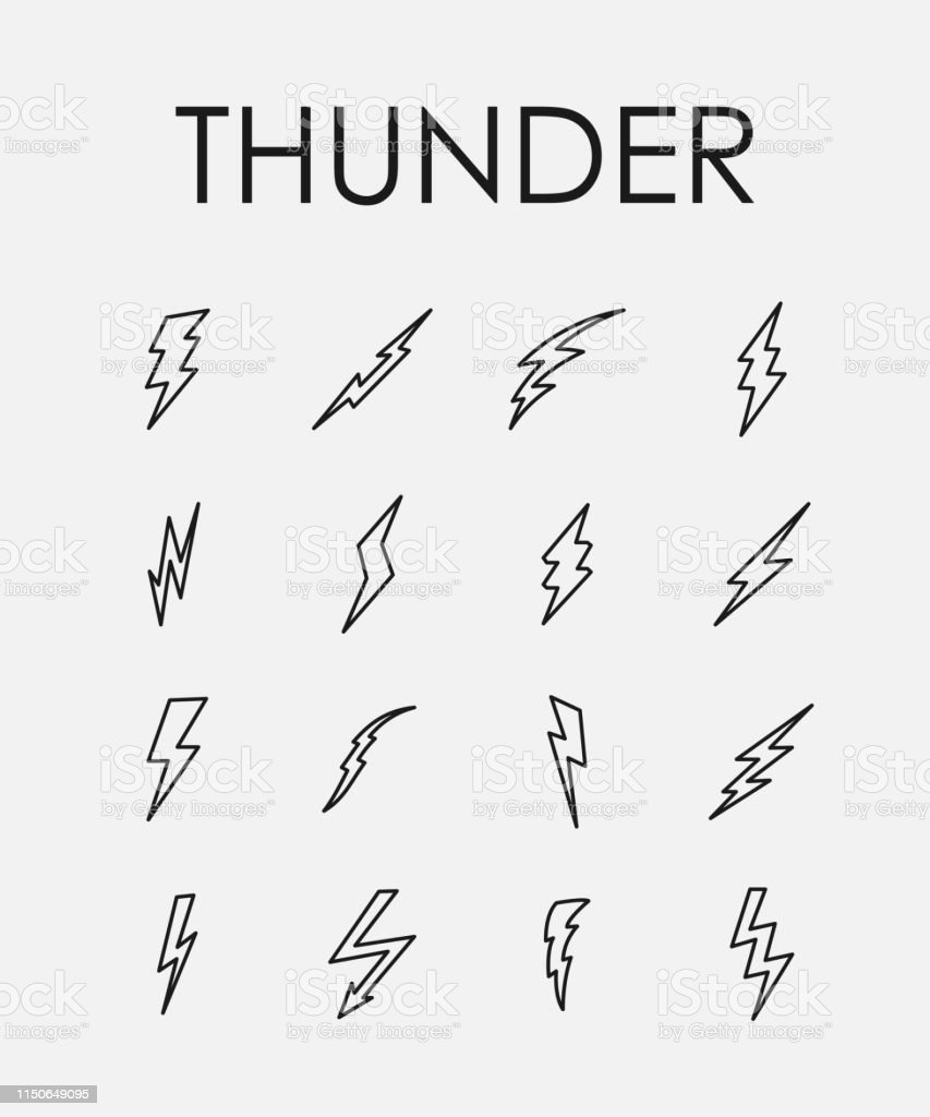 Set Of Lightning Bolt Icons In Modern Thin Line Style Stock Illustration    Download Image Now