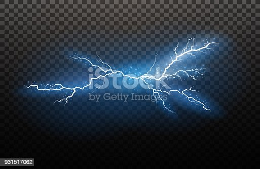 A set of lightning Magic and bright light effects. Vector illustration. Discharge electric current. Charge current. Natural phenomena. Energy effect illustration. Bright light flare and sparks.