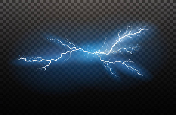 a set of lightning magic and bright light effects. vector illustration. discharge electric current. charge current. natural phenomena. energy effect illustration. bright light flare and sparks - spark stock illustrations