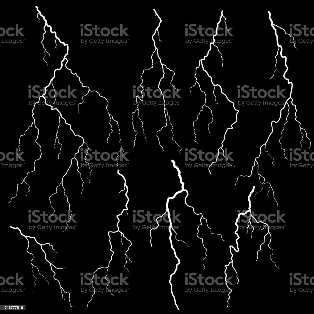 Set of lightning vector art illustration