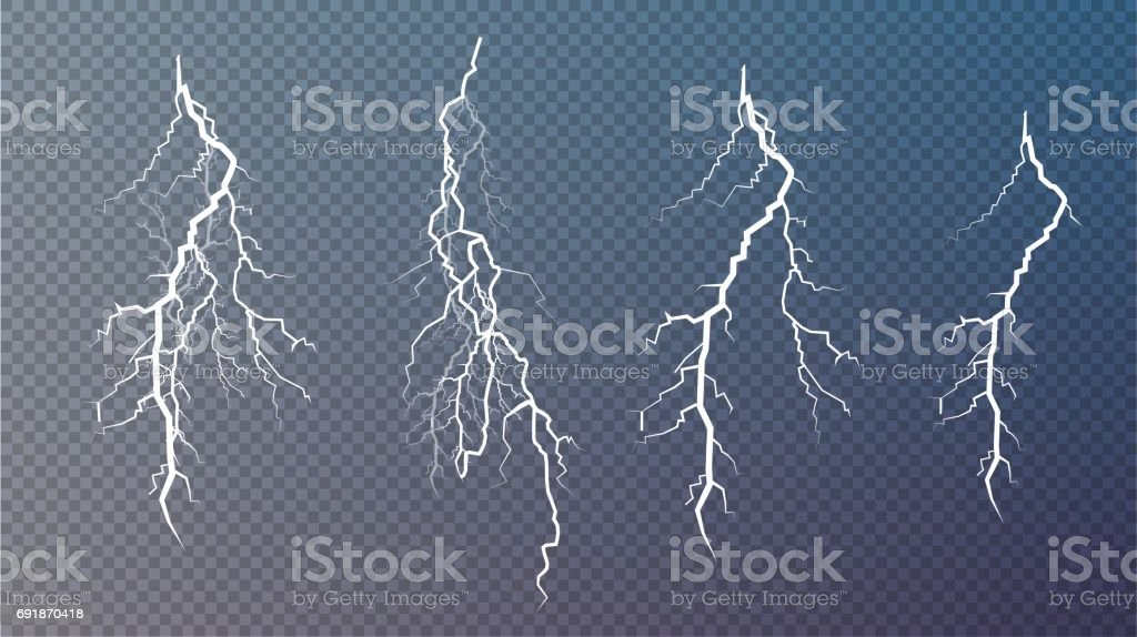 Set of lightnings. Magic and bright lighting effects vector art illustration