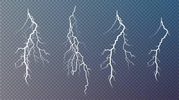 번개의 집합입니다. 마법과 밝은 조명 효과 - lightning stock illustrations