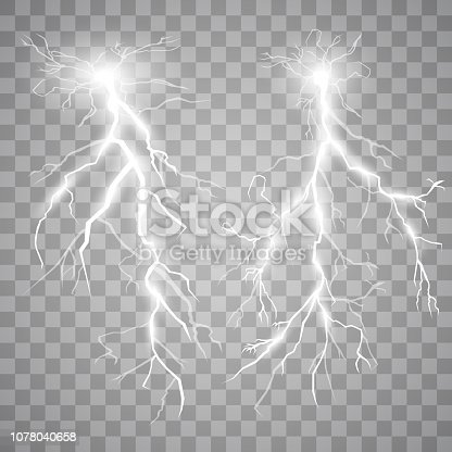 Set of lights. Thunder-storm and lights. Magic and bright lighting effects. Vector Illustration