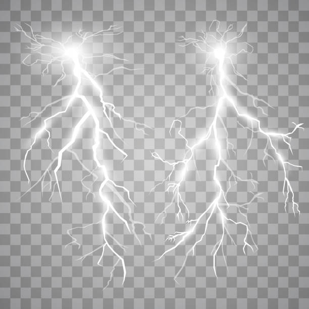 Set of lights Set of lights. Thunder-storm and lights. Magic and bright lighting effects. Vector Illustration thunderstorm stock illustrations