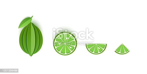istock Set of lime sliced paper citrus fruit sliced whole, triangular and round slices, design for any purpose. Summer green lemon juicy food. Vector card 3d illustration. Tropical papercraft layers fruit. 1201358488
