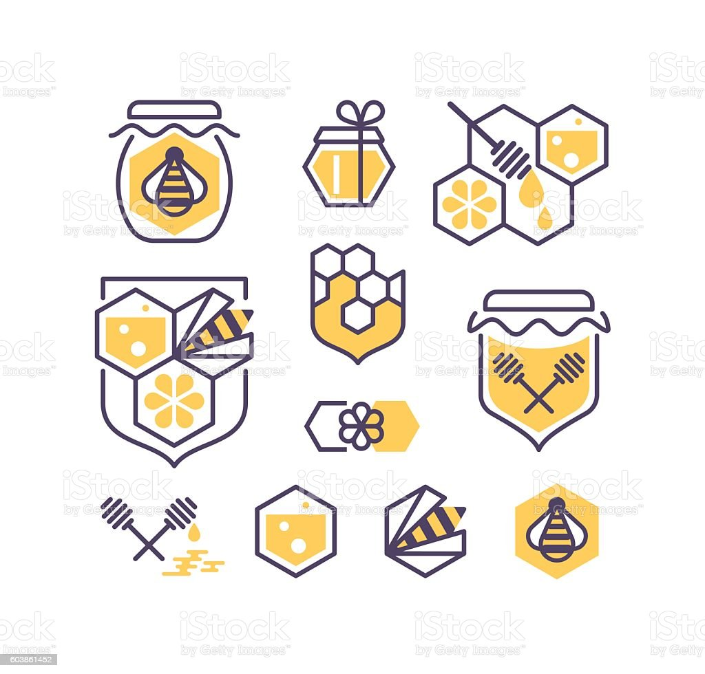 Set of line and color bee and honey icons. vector art illustration