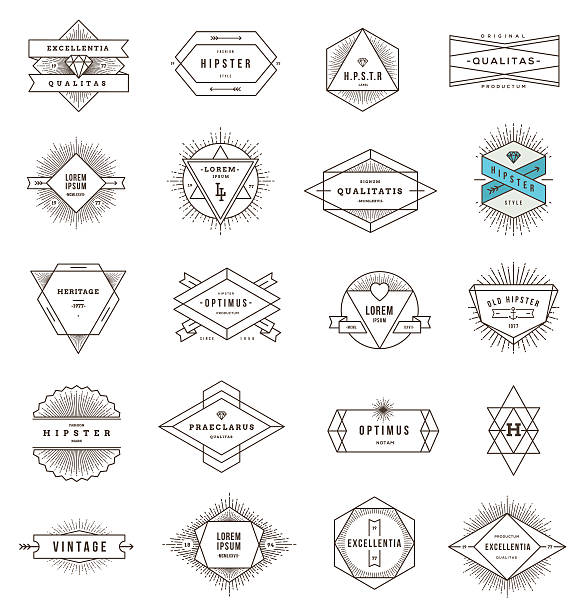 a set of line art emblems on a white background - diamond tattoos stock illustrations, clip art, cartoons, & icons