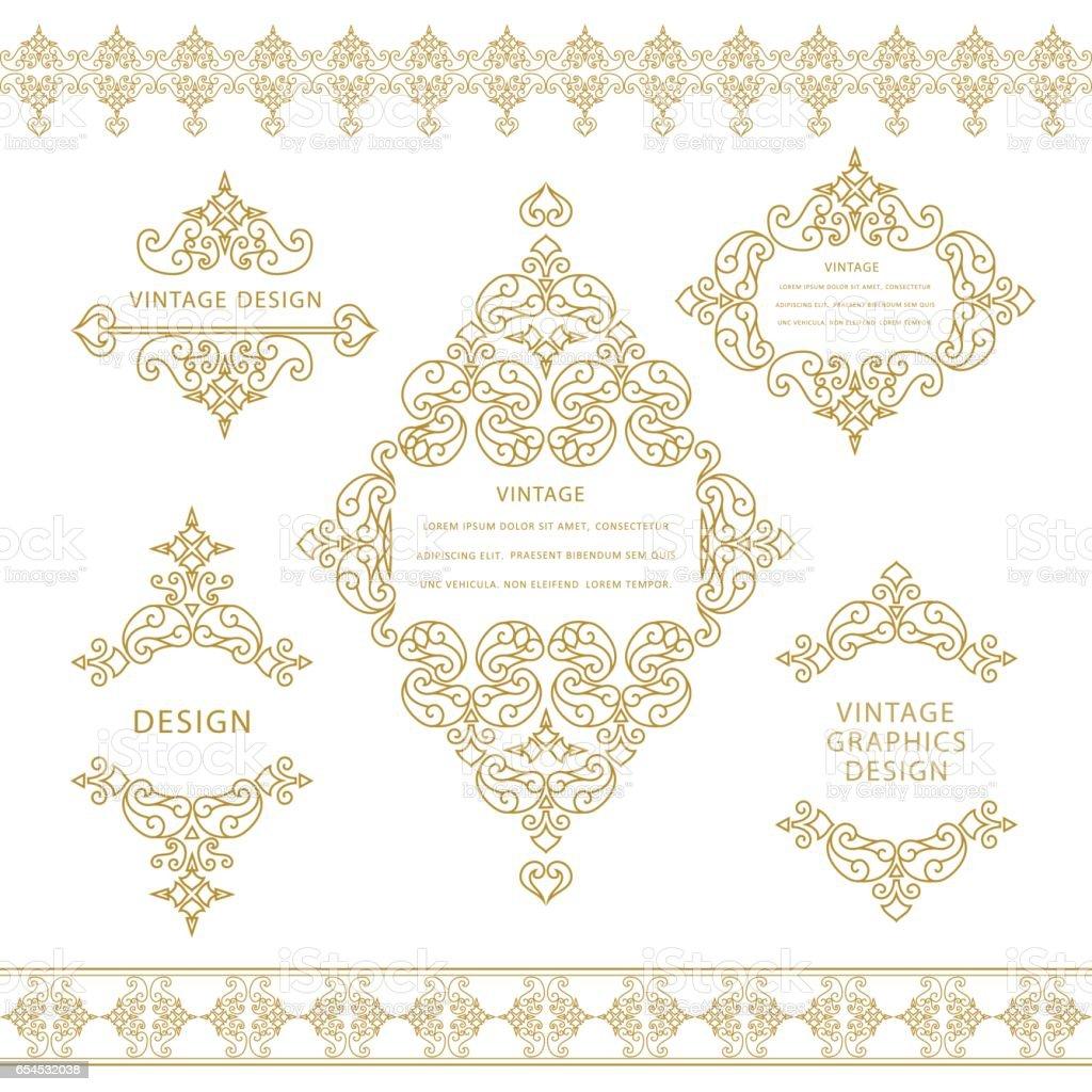 Set of line art frames and borders for design template. Element in Eastern style. Outline floral frames. Mono line decor for invitations, greeting cards, certificate. Vector illustration vector art illustration