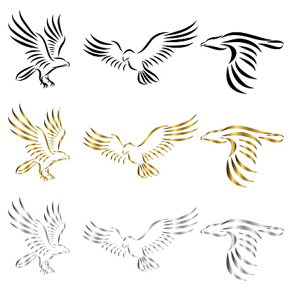 Set of line art vector logo of eagle Can be used as a logo Or decorative items