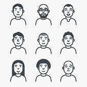 Set of avatars. Line style faces of man. Different facial expression, happy, sad, serious. Glasses, beard and styles of haircut. Customizable vector file.