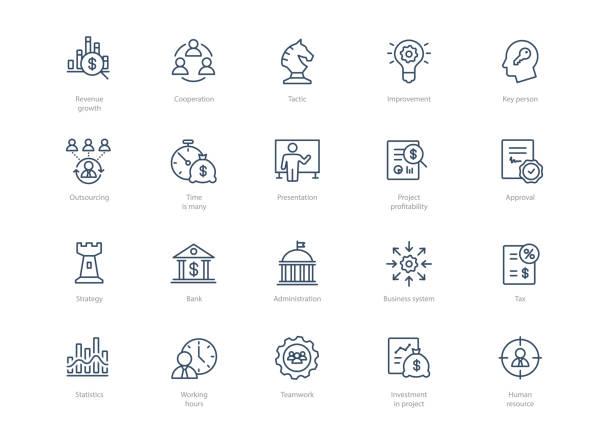 ilustrações, clipart, desenhos animados e ícones de conjunto de ícones de negócio de linha isolada na luz de fundo - banco edifício financeiro
