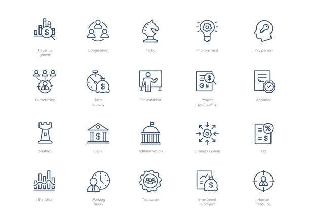 Set of line business icons isolated on light background Set of line business icons isolated on light background. Contains such icons Administration, Tax, Strategy, Cooperation, Teamwork and more. politics stock illustrations