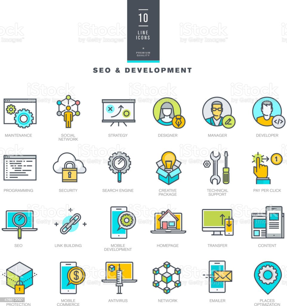 Set of line color icons for SEO and web development vector art illustration