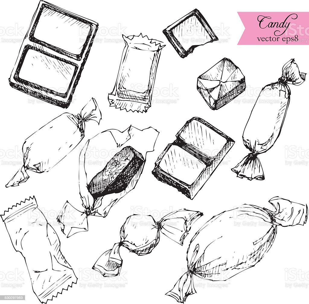 set of line drawing candy vector art illustration