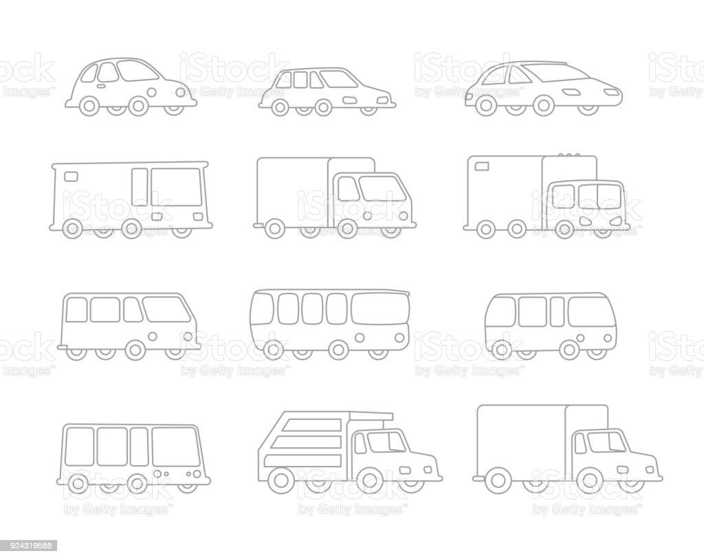 Satz Von Strichzeichnung Verschiedene Cartoon Transparent Autos ...