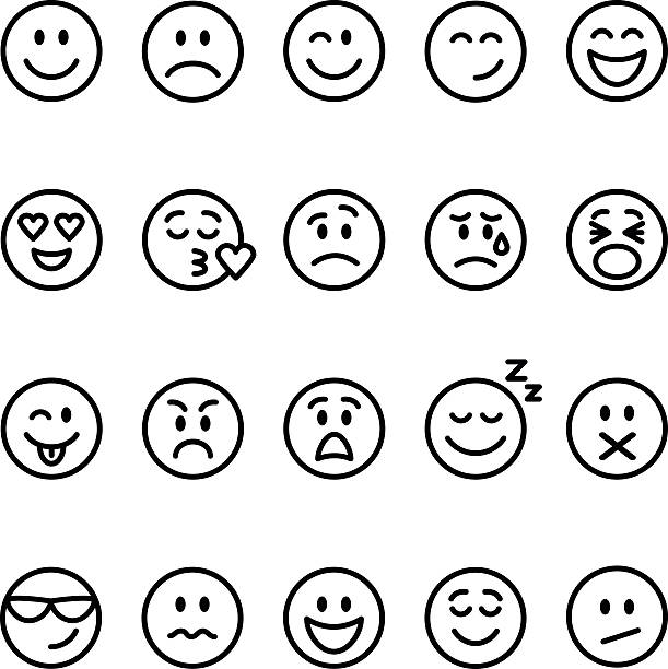 set of line emoticons - happy emoji stock illustrations, clip art, cartoons, & icons