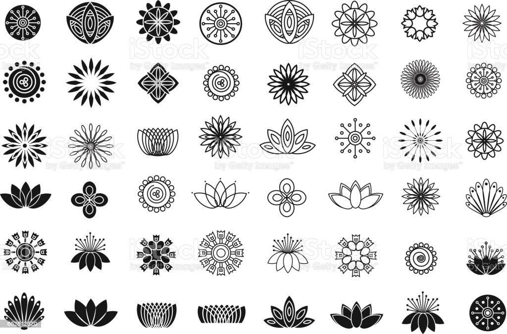 Set of line flower design elements. Plant, blossom and lotus icons vector art illustration