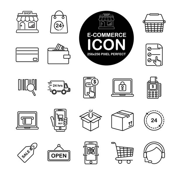 set of line icon about e-commerce, shopping online. include store,bag,wallet,basket,cart and more.editable vector stroke.265x265 pixel perfect - call center stock illustrations