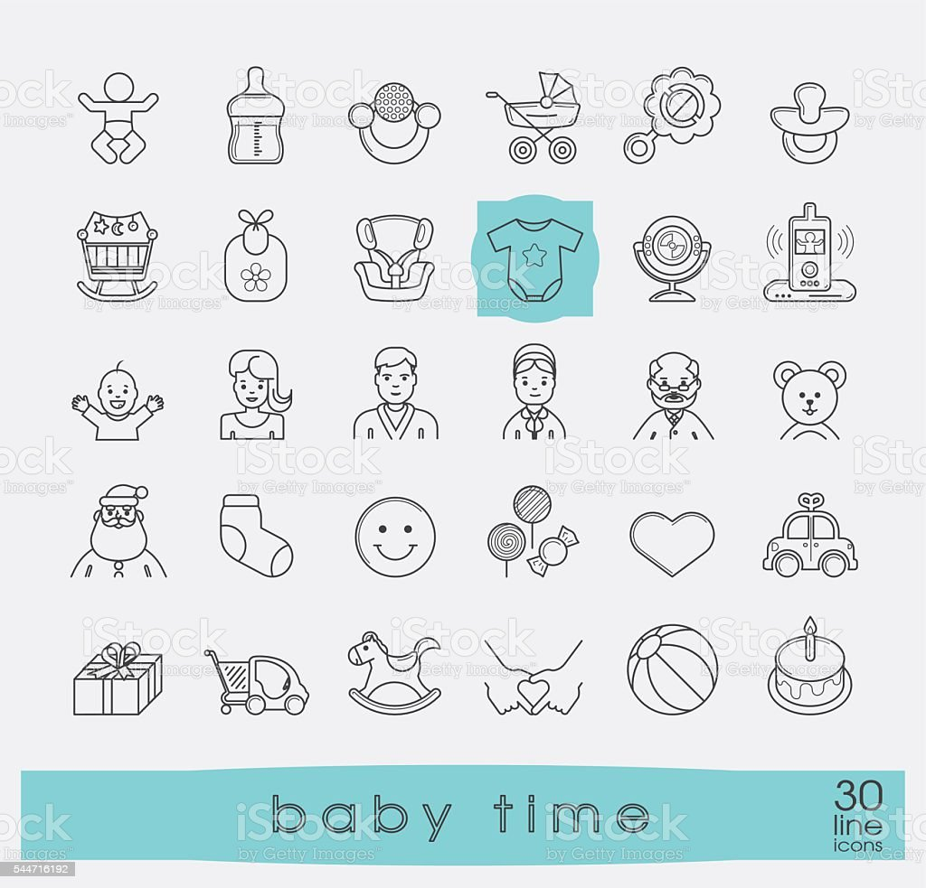 Set of line icons for baby care, feeding and play. vector art illustration