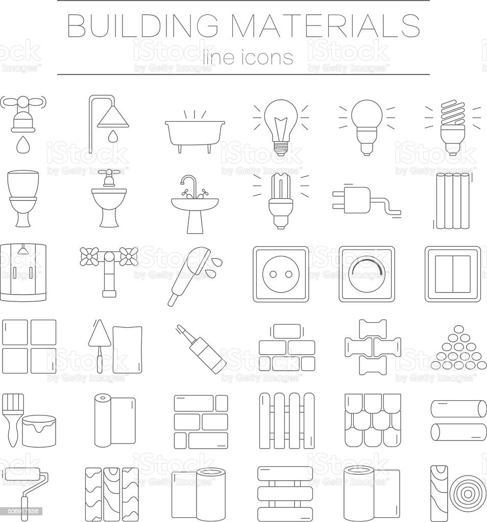 Set of line icons for DIY, construction, building materials. vector art illustration