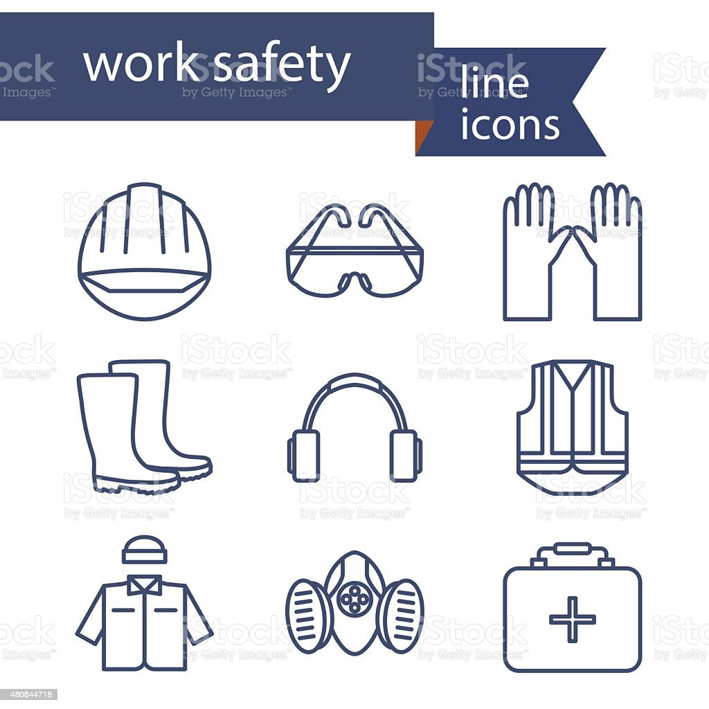 Set of line icons for safety work. Vector illustration. vector art illustration