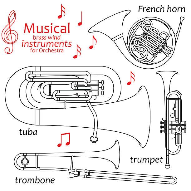 zestaw linia ikon. mosiądz strunowe instrumenty dęte dla orkiestra - waltornista stock illustrations