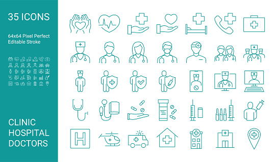 Set of line icons of doctor. Editable vector stroke. 64x64 Pixel Perfect.