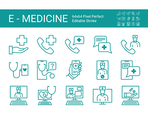 Set of line icons of online medical consultation. Modern concepts, web and apps. Online doctor, online medicine. Editable vector stroke. 64x64 Pixel Perfect.