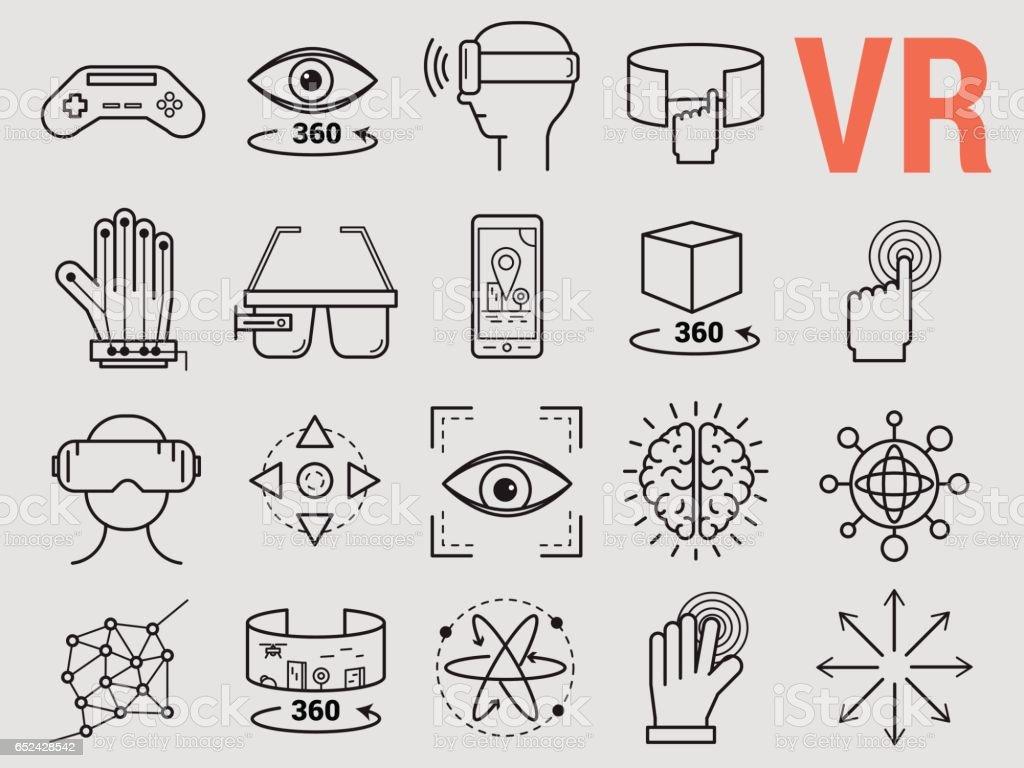 Reihe von Linie Icons - virtuelle Realität – Vektorgrafik