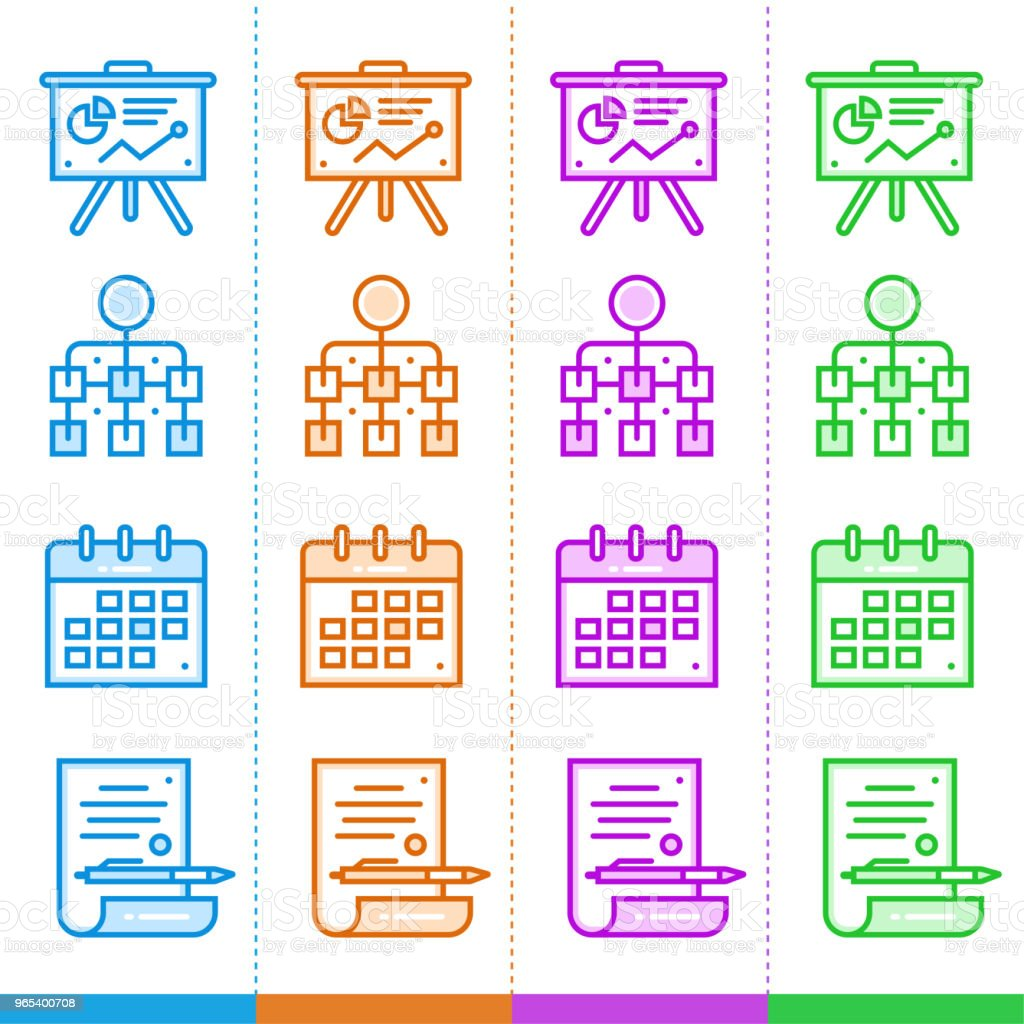 Set of line icons with different colors for startup business. High quality modern pictograms for mobile concepts and web design. royalty-free set of line icons with different colors for startup business high quality modern pictograms for mobile concepts and web design stock vector art & more images of business