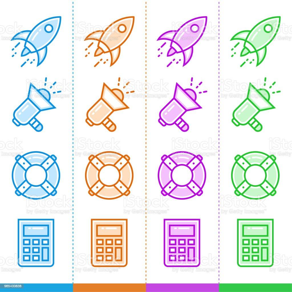 시작 비즈니스에 대 한 서로 다른 색상으로 라인 아이콘의 집합입니다. 모바일 개념 및 웹 디자인을 위한 고품질 현대 무늬. - 로열티 프리 0명 벡터 아트