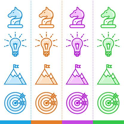 시작 비즈니스에 대 한 서로 다른 색상으로 라인 아이콘의 집합입니다 모바일 개념 및 웹 디자인을 위한 고품질 현대 무늬 0명에 대한 스톡 벡터 아트 및 기타 이미지