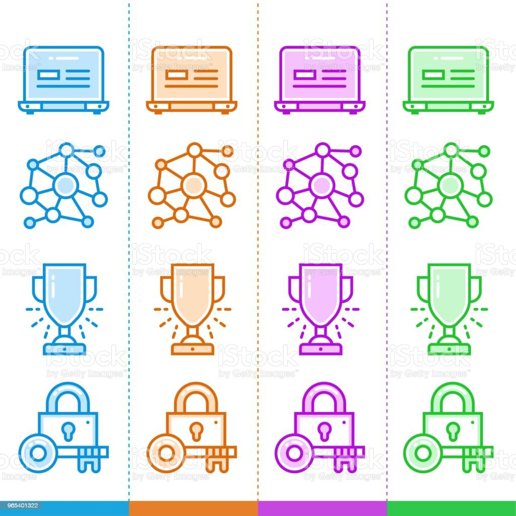Set of line icons with different colors for startup business. High quality modern pictograms for mobile concepts and web design. set of line icons with different colors for startup business high quality modern pictograms for mobile concepts and web design - stockowe grafiki wektorowe i więcej obrazów bez ludzi royalty-free