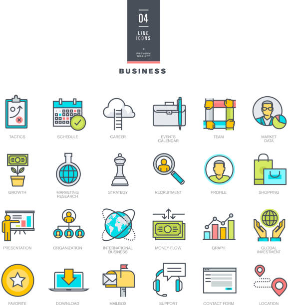 Set of line modern color icons for business vector art illustration