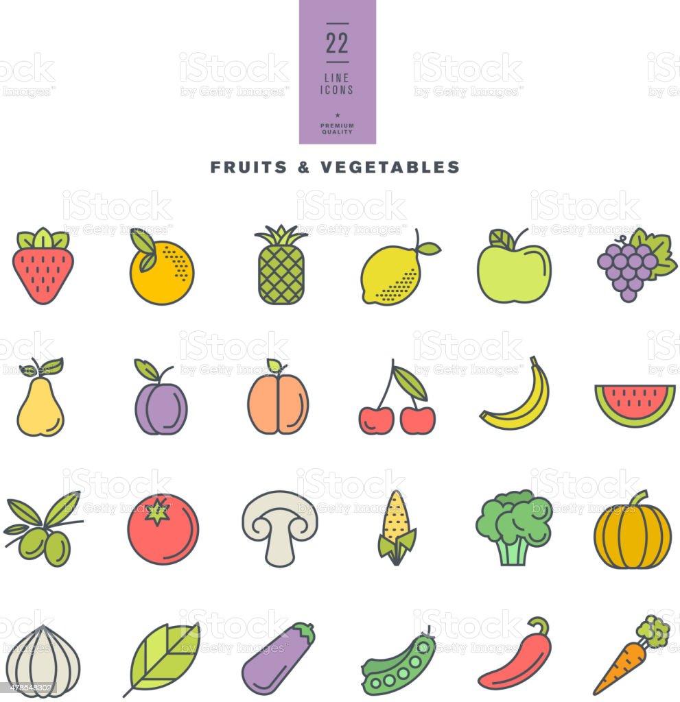 Line Art Vegetables : Set of line modern color icons for fruit and vegetables