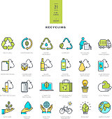 Set of line modern color icons for recycling