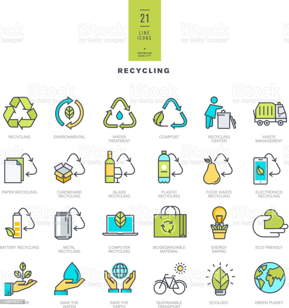 Set of line modern color icons for recycling vector art illustration