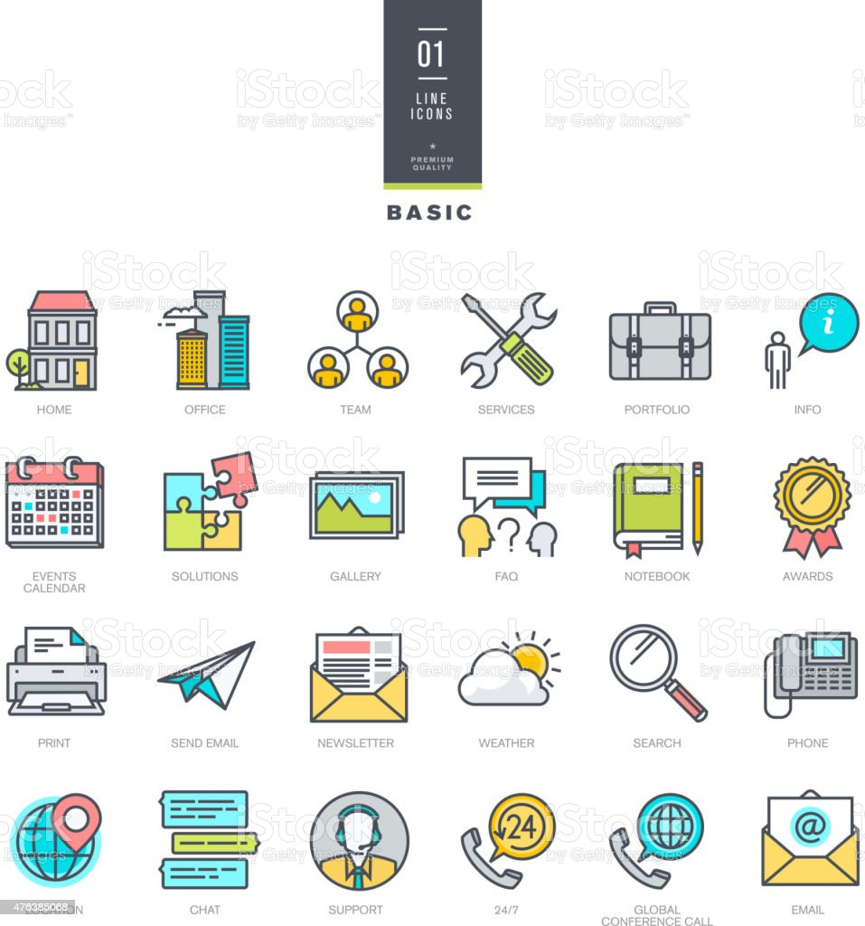 Set of line modern color icons for website design vector art illustration
