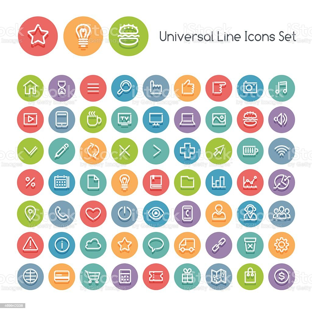 Set of Line Round Universal Icons vector art illustration