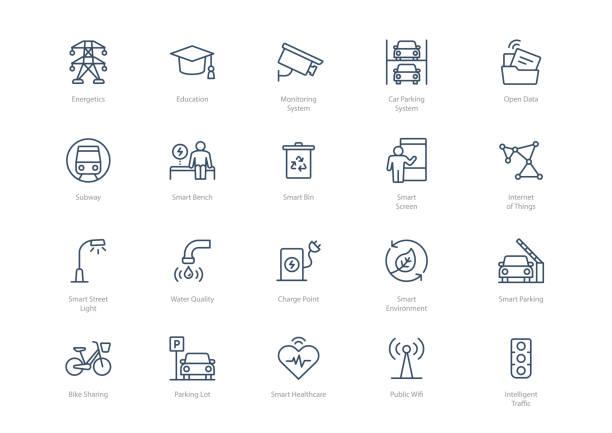 stockillustraties, clipart, cartoons en iconen met set van line smart city iconen geïsoleerd op lichte achtergrond - parking