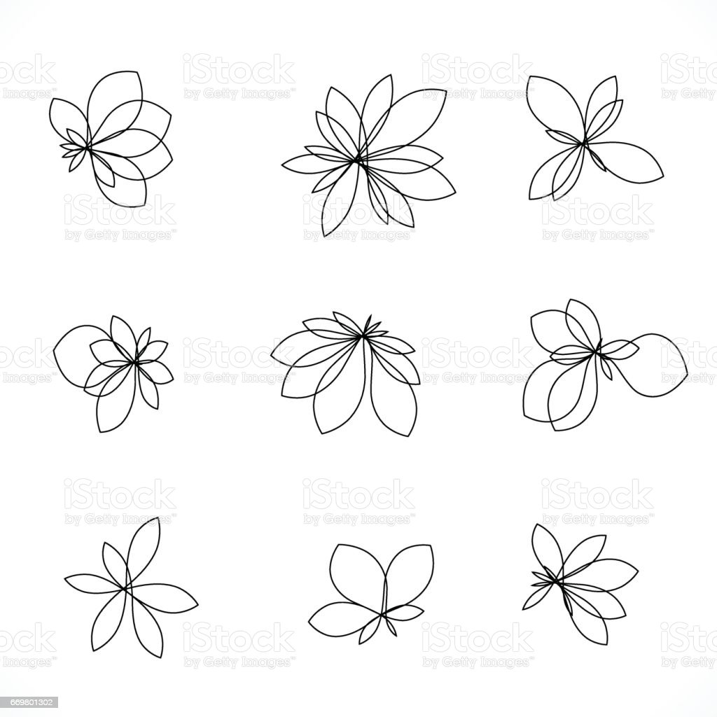 set of line style floral icon vector art illustration