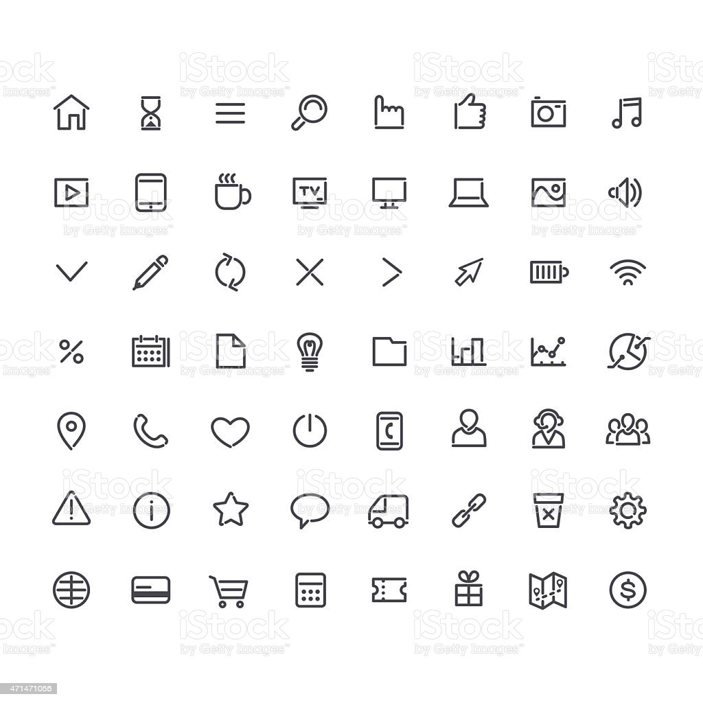 Set of Line Universal Icons vector art illustration