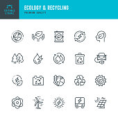 Ecology & Recycling - set of line vector icons. Editable stroke. Pixel Perfect. Set contains such icons as Climate Change, Ozone Layer, Biofuel, Alternative Energy, Recycling, Green Technology, Organic.