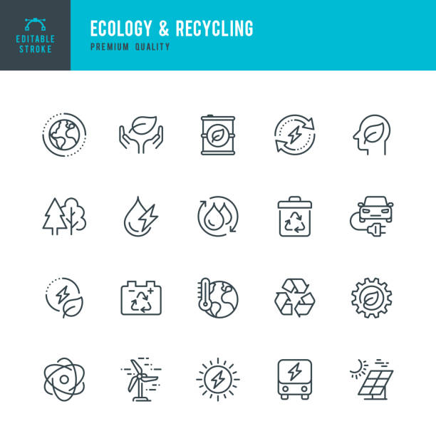 ECOLOGY & RECYCLING - set of line vector icons. Editable stroke. Pixel Perfect. Set contains such icons as Climate Change, Alternative Energy, Recycling, Green Technology. Ecology & Recycling - set of line vector icons. Editable stroke. Pixel Perfect. Set contains such icons as Climate Change, Ozone Layer, Biofuel, Alternative Energy, Recycling, Green Technology, Organic. environment stock illustrations
