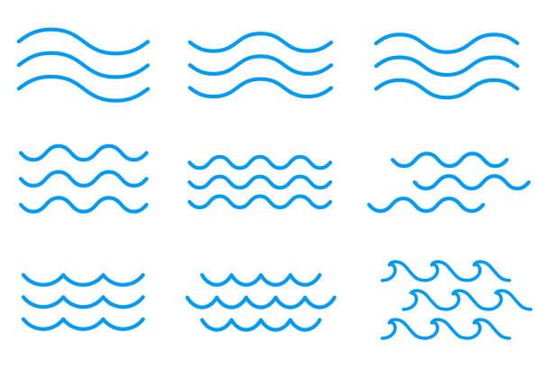 라인 물 파도 아이콘, 기호의 집합 - 물 stock illustrations