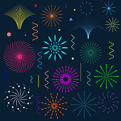 Set of lineal fireworks with petard, stars, waves, circles. Vector design shapes colorful collection for festival or holiday or any cover.